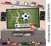 mess in room of football fan... | Shutterstock .eps vector #1085899694