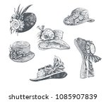 Set Of Women's Hats. Vintage...