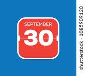 september 30 calendar flat icon