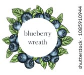 Hand Drawing Blueberry Wreath...