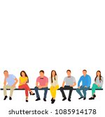 isolated  flat style  people sit | Shutterstock .eps vector #1085914178