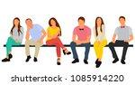 flat style  people sit | Shutterstock .eps vector #1085914220
