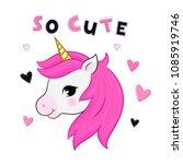 vector cartoon unicorn.   Shutterstock .eps vector #1085919746