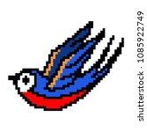 pixel art tattoo retro swallow. ... | Shutterstock .eps vector #1085922749