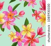 watercolor tropical flowers... | Shutterstock .eps vector #1085930330