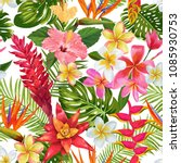 watercolor tropical flowers and ... | Shutterstock .eps vector #1085930753