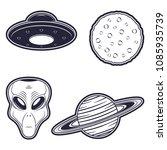 alien  ufo  moon and planet.... | Shutterstock .eps vector #1085935739