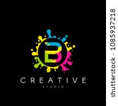 letter b logo with colorful... | Shutterstock .eps vector #1085937218