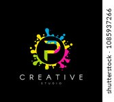 letter p logo with colorful... | Shutterstock .eps vector #1085937266