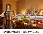 hotel room for a honeymoon  a... | Shutterstock . vector #1085947658
