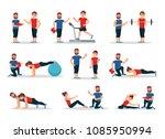 flat vector set of people in... | Shutterstock .eps vector #1085950994