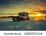 land rover discovery suv car on ... | Shutterstock . vector #1085953118
