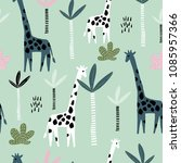 seamless pattern with giraffe ... | Shutterstock .eps vector #1085957366