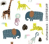 seamless pattern with giraffe ... | Shutterstock .eps vector #1085958149