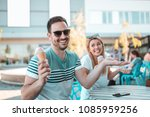 happy couple enjoying sunny... | Shutterstock . vector #1085959256