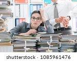 demanding boss pointing to his... | Shutterstock . vector #1085961476
