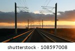 Railway At Sunset With Lines