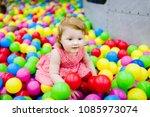 portrait little cute baby girl... | Shutterstock . vector #1085973074