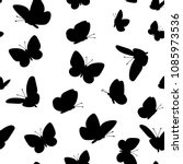 black butterflies pattern. cute ... | Shutterstock .eps vector #1085973536