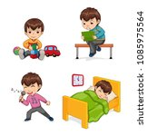 boy musician and hobby  singing ... | Shutterstock .eps vector #1085975564