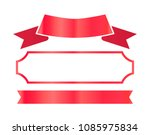 red shiny ribbons and thin... | Shutterstock .eps vector #1085975834