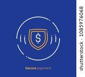 line art finance protection.... | Shutterstock .eps vector #1085976068