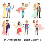 happy newlywed couples composed ... | Shutterstock .eps vector #1085980946