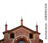 ancient red brick church in... | Shutterstock . vector #1085981534