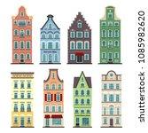 set of 8 amsterdam old houses... | Shutterstock .eps vector #1085982620