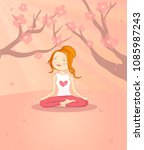 girl doing yoga with a...   Shutterstock .eps vector #1085987243