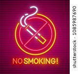 no smoking. neon sign with... | Shutterstock .eps vector #1085987690
