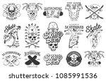 set of skateboarding emblems in ... | Shutterstock .eps vector #1085991536
