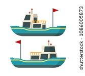 vector sea boat in flat style | Shutterstock .eps vector #1086005873