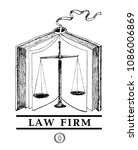 law and justice set. lawbook ... | Shutterstock .eps vector #1086006869