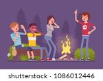 spooky story near campfire fun. ... | Shutterstock .eps vector #1086012446