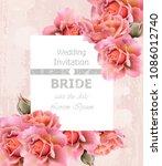 wedding invitation roses card... | Shutterstock .eps vector #1086012740