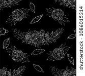 vintage peony vector pattern | Shutterstock .eps vector #1086015314