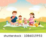 family enjoying picnic. they... | Shutterstock .eps vector #1086015953