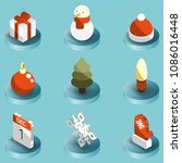 winter color isometric icons | Shutterstock .eps vector #1086016448