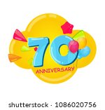 cute cartoon  template logo 70... | Shutterstock .eps vector #1086020756