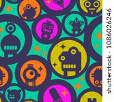 seamless pattern with round... | Shutterstock .eps vector #1086026246
