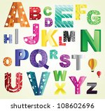 beautiful cut out paper abc ... | Shutterstock .eps vector #108602696