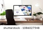 computer with website builder... | Shutterstock . vector #1086027548