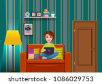 vector living room with girl... | Shutterstock .eps vector #1086029753