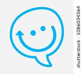 chat icon blue smiley dialog... | Shutterstock .eps vector #1086034364