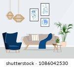 the design of the living room... | Shutterstock .eps vector #1086042530