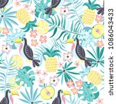 tropical seamless pattern with... | Shutterstock .eps vector #1086043433
