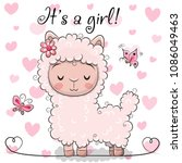 baby shower greeting card with... | Shutterstock .eps vector #1086049463