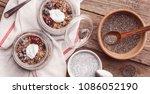 breakfast with chia  yoghurt... | Shutterstock . vector #1086052190