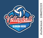 volley ball logo with text... | Shutterstock .eps vector #1086052223